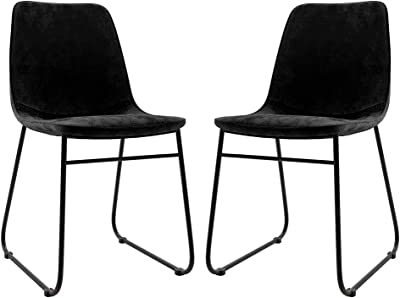 2pc Industrial Dining Chair Upholstered Fabric Kitchen Cafe Seat Chairs Metal Black