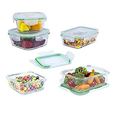 10 Piece Glass Square Food Storage and Meal Prep Container Set (Specially Made for Microwave, Oven, Fridge, Freezer, and Dishwasher)