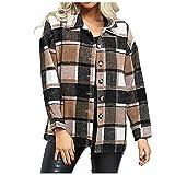 Chaqueta a cuadros para mujer de otoño de moda solapa delgada casual suelta camisa de manga larga Tops, B Café, XL