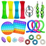 21pcs Fidget Toy Pop It Juego de Juguetes sensoriales Juguete para niños Juego de Juguetes Fidget Clasificación de Juguete Especial para la Fiesta de cumpleaños Autista