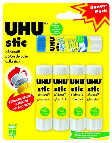 Uhu 45275 - 5 Klebestifte, 4x Stic mit 1x Magic Stic, 8.2 g