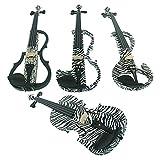 aliyes Holz Elektrische Violine Full Size 4/4fortgeschrittenen Elektrische Silent Violine (Zebra Muster Kit) ALDSG-1302