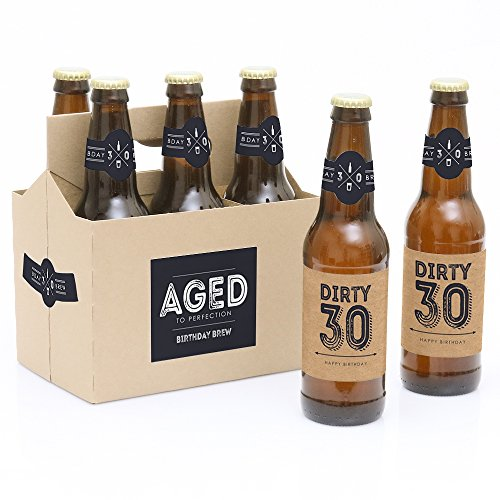 30th Milestone Birthday Party Decorations for Men - 6 Beer Bottle Label Stickers and 1 Carrier