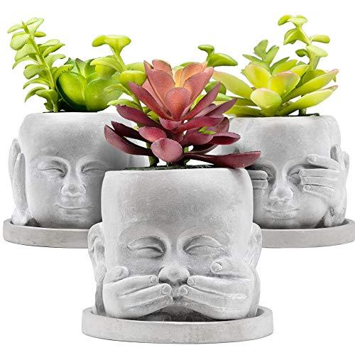 BenHill® Blumentopf Set | 3 Blumentöpfe mit je einem Untersetzer | ideal für kleine Pflanzen, Sukkulenten & Kakteen | Beton Übertopf mit Untersetzer & Ablaufloch