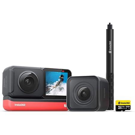 Insta360 ONE R ツイン版 自撮り棒キット(ONE R ツイン版 x1、32GB SDカード x1、1.2m自撮り棒 x1) 360度アクションカメラ 5.7K 360度全天球 + 4K広角高画質撮影 FlowState 手ブレ補正 5m防水パノラマカメラ スポーツカメラ【Insta360公式】