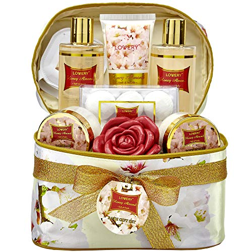 Mother's Day Gifts - Bath and Body Gift Basket For Women  Honey Almond Home Spa Set with Fragrant Lotions, 6 Bath Bombs, Reusable Travel Cosmetics Bag with Mirror and More - 14 Piece Set
