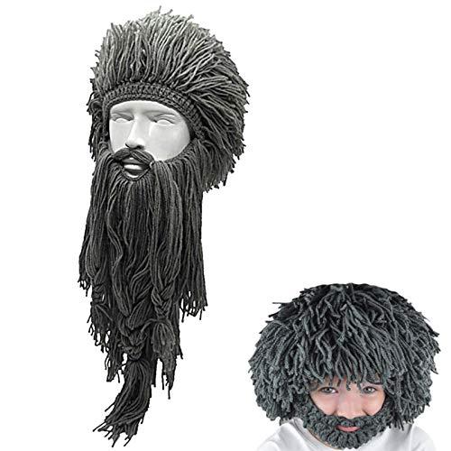 XWWS Rasta Chapeaux Barbe Viking Décoration d'halloween Drôle Hommes Tricoté Perruque Barbe Bonnet, Ski Chaud d'hiver Masque pour Cosplay Carnaval Party Dress,Gris,Adult