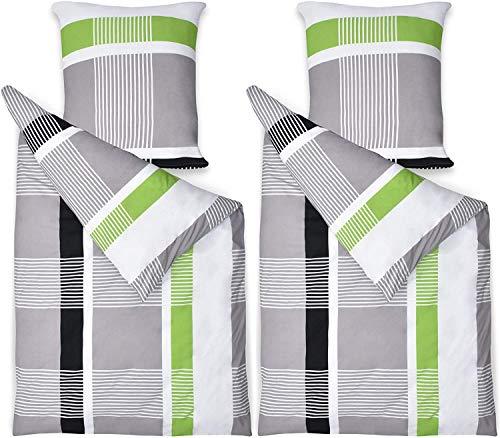 Beautissu Renforcé Bettwäsche Bezug 4-TLG Set Dana 135x200 cm 100% Baumwolle Bettbezug mit Reißverschluss Bettdecken Bezug & Kissenbezug 80x80 cm