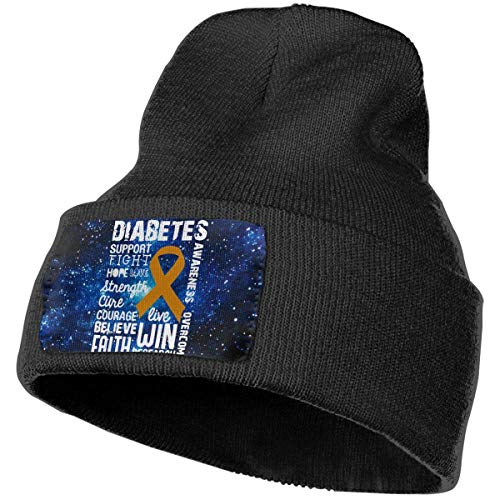 hgfyef Weiche Strickmütze Diabetes Awareness DIY Skull Cap Sport Fan Uhr Cap Schwarz DIY 12824