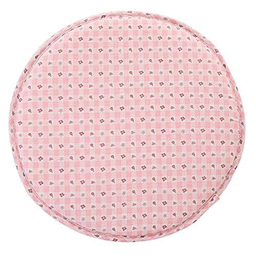 Levoberg - Funda de taburete redondo de algodón, fondo antideslizante, cojín taburete de bar 33 cm