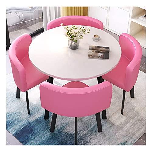 Conjunto de mesa de comedor para cocina o decoraci Negociación Mesa y silla Combinación 4 personas Recepción Pequeña Mesa Redonda Simple Milk Tea Postre Tienda Tablas y Sillas 80cm ( Color : Pink )
