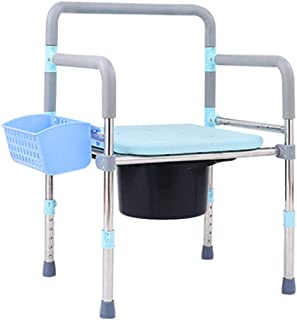 XWZJY Lightweight Bedside Commode Shower Chair Folding Bariatric Toilet Seat with Safety Steel Frame Extra Wide Padded Cushion for Adults, Handicap, Elderly