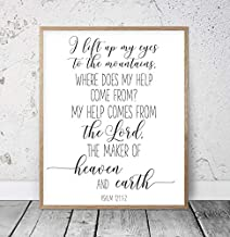 Black Framed Wood Sign Quote Sign I Lift My Eyes to The Mountains, Psalm 121, Bible Verse Printable Wall Art, Christian Gifts, Nursery Bible Quotes, Scripture Prints DormFor Room/Living Room