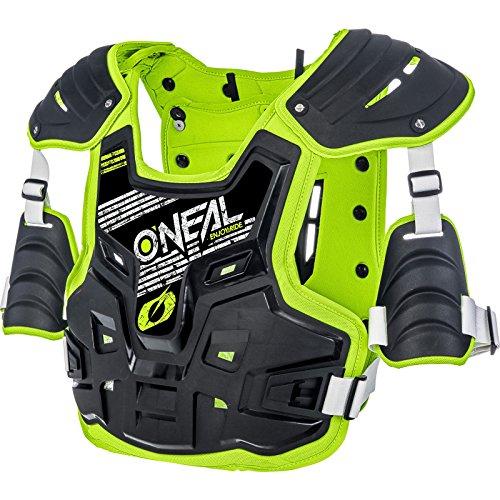 O\'NEAL | Brustprotektor | Motocross Enduro | Aus Kunststoff-Spritzguss, Verstellbare Hüftgurte, Zertifiziert EN 14021 | PXR Stone Shield Brustpanzer | Erwachsene | Schwarz Neon-Gelb | One Size