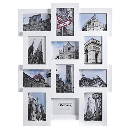 VonHaus Cadre Photo Multi Vues en Bois Blanc pour Exposer Jusqu'à 12 Photos de Dimensions 15x10cm