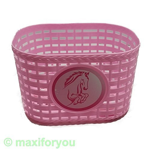 Kinderfahrrad Korb Kunststoff für vorne/hinten 4 Farben Fahrradkorb - 01170319 (Rosa Pferd)