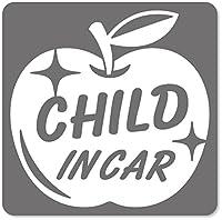imoninn CHILD in car ステッカー 【マグネットタイプ】 No.63 リンゴ (シルバーメタリック)