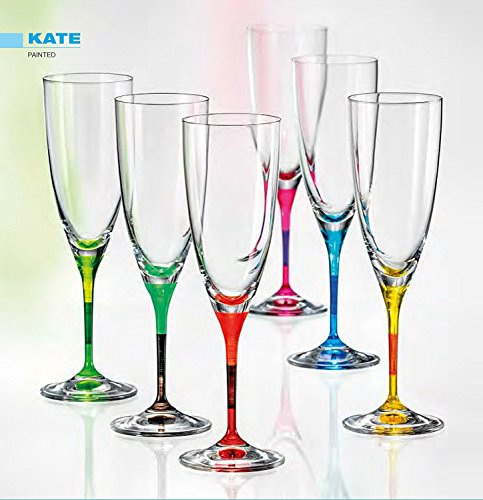 Bohemia Cristal verres de champagne KATE 220 ml, couleurs assorties, 6 - Set
