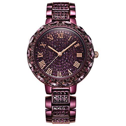 HYCy Mode Frau Strass Quarz Armbanduhr Mode Damen Kristall Wauml;hlen Quarz Analog Legierung Armband Uhren (Farbe : Purple)