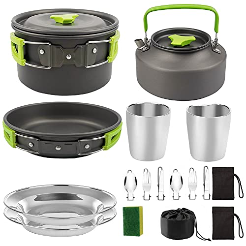 Camping Cocketware Kit Pot Pan Stove Estufa Set De Hervidor De Acero Inoxidable Productos para Cocinar Al Aire Libre Y Picnic Green