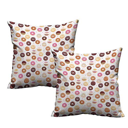 2 Piece Standard Pillowcases Donuts and Little Hearts Pattern Colorful Yummy Delicious Dessert Cafeteria Restaurant Art 24'x24',Fit All Season