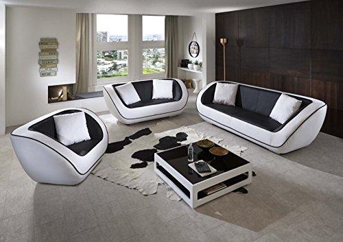 SAM Design Polstergarnitur Navarra 3tlg, schwarz/weiß, 1 x 3-Sitzer Sofa + 1 x 2-Sitzer Sofa + 1 x Sessel inkl. Kissen, futuristisches Design, angenehmer...