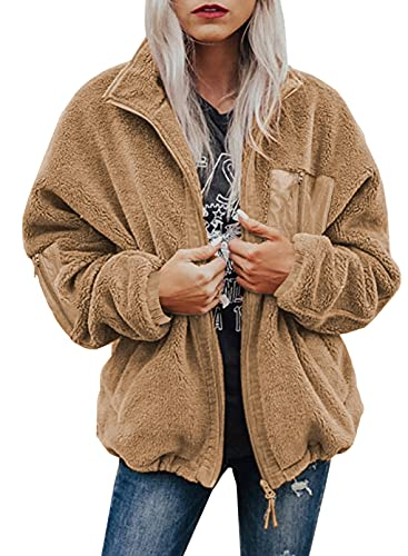 Dokotoo Womens Ladies Winter Fall Autumn Fashion Oversized Full Zipper Sherpa Jackets for Women Fashion Cardigan Sweater Short Teddy Coats Outerwear with Pockets Khaki Small