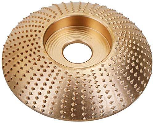 Herramienta de Tallado para Lijado de Disco de Muela de ángulo de Madera Herramienta Giratoria de Carburo para Amoladora angular 3.3 pulgadas / 85 mm (Arc Plane, Gold)