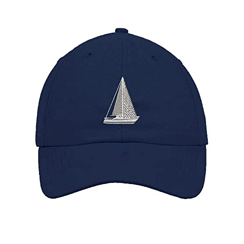 Speedy Pros Sail Boat Sailing Embroidery Twill Cotton 6 Panel Low Profile  Hat Navy 71381606d7c9