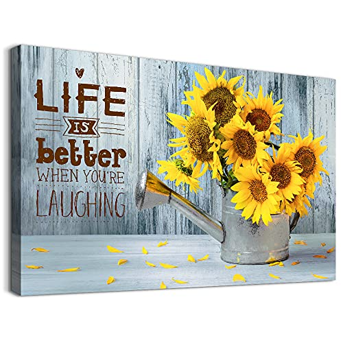 Family Wall Decor For Bedroom Canvas Wall Art Painting For Kitchen Modern Bathroom Wall Decorations Yellow Sunflower Pictures Artwork Office Inspirational Canvas Art Prints Dining Room Home Decor