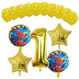 JSJJARD Globos El Hombre araña de la Historieta 15pcs El Helio Globos Foil Polk Dot látex Aire Superhero cumpleaños del Tema de la decoración del Partido (Color : A1)