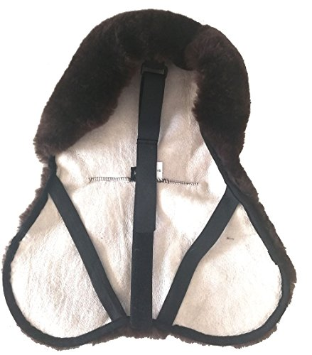 Merauno English Merino Sheepskin Saddle Seat Cover -Reitsport Lammfell Sattelsitzbezug englisch Braun (M)