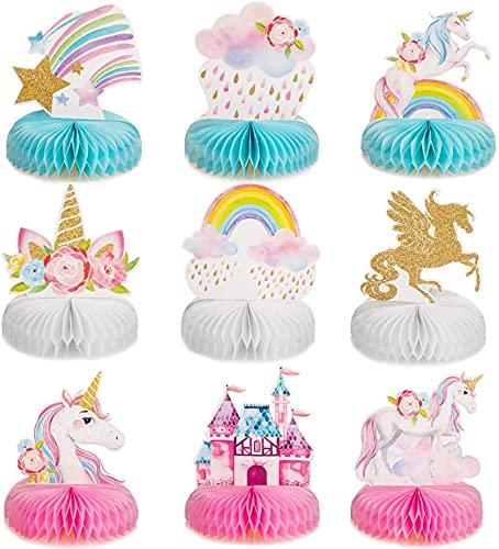 Turtle Story 9 piezas de unicornio arco iris, centro de mesa de nido de abeja brillante, decoración de fiesta de cumpleaños JXNB