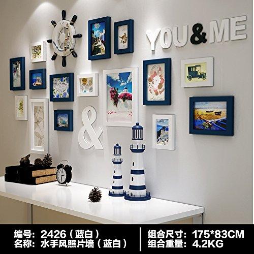 Bois massif sur le mur Photo Mur Chambre à coucher Salon Mur photo frame Combo américain créatifs photo murale sur le mur dassdie Bleu et Blanc Deux – Couleur