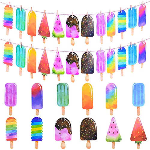 Ancefine 2 Pack Popsicle Banner Ice Cream Banner Popsicle Party Garland for School Kid Birthday Summer Party Decoration