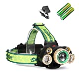 Skywolfeye 35000 Lumens Led Rechargeable18650 Headlamp Flashlight, Kit with 2Pcs 3.7V 18650 Rechargeable Batteries+ Charger, 4 Lighting Modes for Camping,Hiking, Outdoors