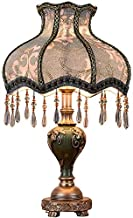 Table Lamp European Retro Bedside Lamp 13 Handmade Fabric Shades Victorian Style Hand Carved Resin Body Use E27 Bulb,power...