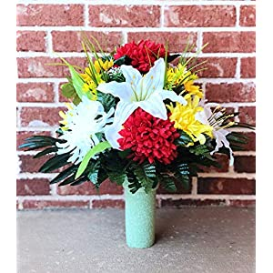 Cemetery Vase Flowers ~ Beautiful Red Yellow Ivory Mum,Ivory Lily,Sunflower and Yellow Flowers Mixture Cemetery Flowers ~ Mother's Day