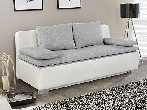 expendio Schlafsofa, Couch Duana 203x90cm, hellgrau Weiss Schlafcouch Sofa Doppelliege