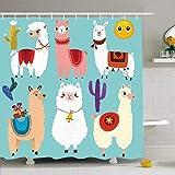Set de cortina de ducha con ganchos Set Cute Llamas6 Personajes de colección Animales tropicales Fauna silvestre Perú Happy Character Sky Adorable tela de poliéster impermeable Decoración de baño para