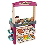 ReallyGO Ice Cream Playset, 55 Pieces Ice Cream Shop Luxury Grocery Store Playset with Scanner, Ice Cream, Desserts and Other Ice Cream Product, Purple