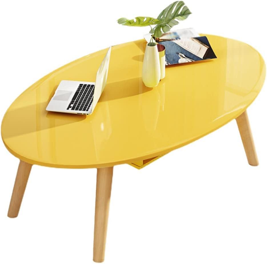 YZERTLH Mesa de Centro Mesa de café Oval Moderna Mesa de cócteles, Utilizado en Dormitorio Sala de Estar Industria Hogar Mesa de té Ventana Ventana Escritorio Mesa Centro (Color : Yellow)