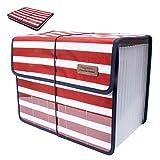 Jolicobo Cartella File Espandibile Archiviazione File Organizer in Oxford 13 Tasche A4 Classificatori Portadocumenti con Coperchio (Bianco-Rosso)