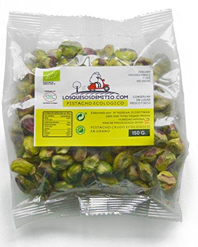 Pistacho Ecológico pelado y crudo sin sal añadida, cultivado en España (frutos secos naturales de agricultura ecológica, 450g de pistachos ecológicos mondados), de Losquesosdemitio