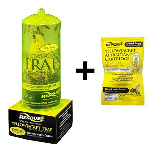 RESCUE Bundle: YJTR Reusable Yellow Jacket Trap YJTC Yellow Jacket 10 Week Attractant Cartridge