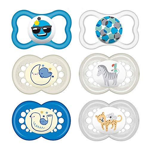 MAM Day & Night // Original & Air //'Skin Soft' Ciuccio in silicone 16+ Boy // Set da 6 // incl. 3 contenitori per il trasporto sterilizzati