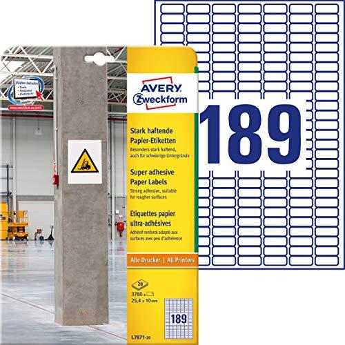 AVERY Zweckform L7871-20 Stark haftende Etiketten (3.780 Aufkleber, 25,4x10mm auf A4, extrem stark selbstklebend, auch für schwierige Oberflächen, bedruckbare Power Klebeetiketten) 20 Blatt, weiß