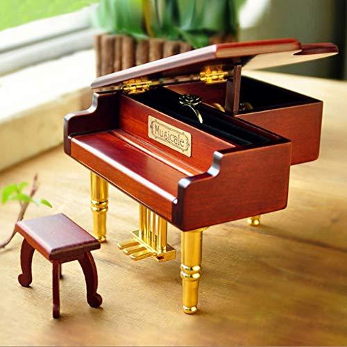 xilinshop Classical Music Box La Caja de música de Madera de la joyería del Piano de la simulación, Puede acomodar los Anillos, decoración Elegante del Tablero, día de Fiesta Caja de Música