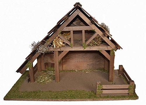 CV Weihnachts-Krippe Holz Krippen-Stall Mateo ohne Figuren 55 x 30 x 38 cm Handarbeit aus Bayern