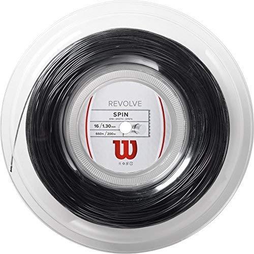 Wilson Unisex Tennissaite Revolve, schwarz, 200 Meter Rolle, 1,30 mm, WRZ906800